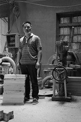 Boss Man (kseedIV) Tags: china wood shop 50mm nikon bath factory cabinet award tools ilfordhp5 chinadigitaltimes hangzhou   f4 zhejiang finalist drillpress  alibabacom 2011   xiaoshan  netrepreneur   mikequan hangzhouvisionsanitaryware alizila