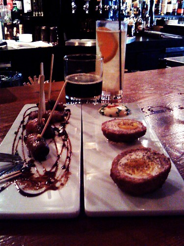 Doing a tasting for Vancouver Food Tour.  Cocktail, beer, and vamped bar snacks: Scotch eggs and Devil on Horsebacks (Gruyère stuffed prunes, wrapped in bacon). Pourhouse  in Vancouver, BC by Melody Gourmet Fury