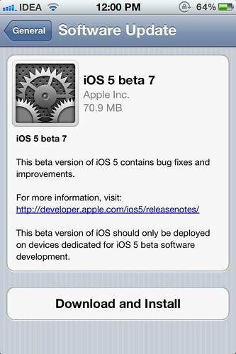 iOS 5 Beta 7 OTA