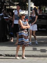 last days (omoo) Tags: street newyorkcity woman westvillage streetscene sidewalk streetcorner greatshoes strawhat greenwichvillage lastdaysofsummer stripeddress lookingfortaxi bleeckerstreetandsixthavenue