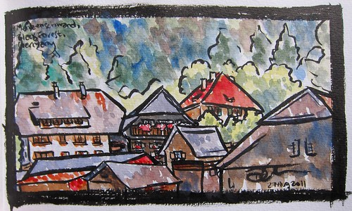 Travel Sketch Drawing of Mezenschwand, a small town in Germany by Danalynn C