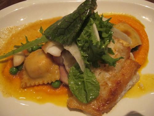 Fish and ravioli