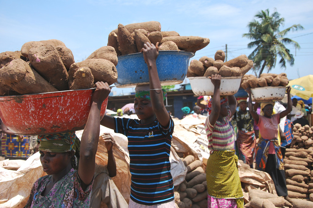 Yam wholesale market bubbling with activities in Accra, Ghana