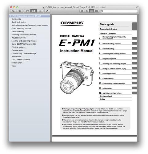 Olympus E-PM1 Manual