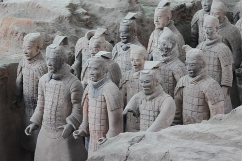 Closer look at the warriors at Pit No. 1 at Museum of Qin Terra-cotta Warriors and Horses at Xi'an, China