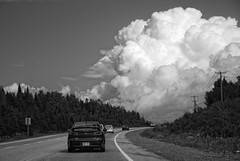 Ciel de Charlevoix (monilague) Tags: auto road summer sky cloud tree nature car forest landscape nikon quebec route ciel wheeler t nuage paysage foret arbre charlevoix vhicule