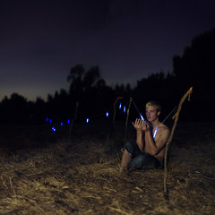 The only lights were below the horizon. (David Talley) Tags: blue trees sunset field lines silhouette night forest fence dark wonder dead sticks woods glow purple rope jeans nighttime jungle string worry hay outline excitement glowsticks deadgrass cutoffjeans 365project davidtalley