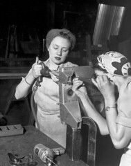 Jane Wanley and her sister, Martha Rohder (Rhodes?) Riveting, 1943 (The Henry Ford) Tags: worldwarii b24 thehenryford 2011 willowrunbomberplant bensonfordresearchcenter
