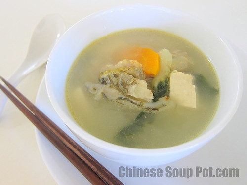 [photo-bok choy fish head tofu pork soup]