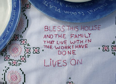 bless this house embroidery (arthur+martha) Tags: handmade celebration sthelens teaparty stiched olderpeople artevent communityart handembroidery fouracre arthurmartha
