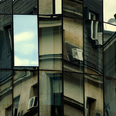rnin (miuenski) Tags: old windows sky urban abstract monochrome lines architecture clouds buildings reflections patterns curves roofs textures squareformat repetition dslr 75300 500x500 ab1 thechallengefactory