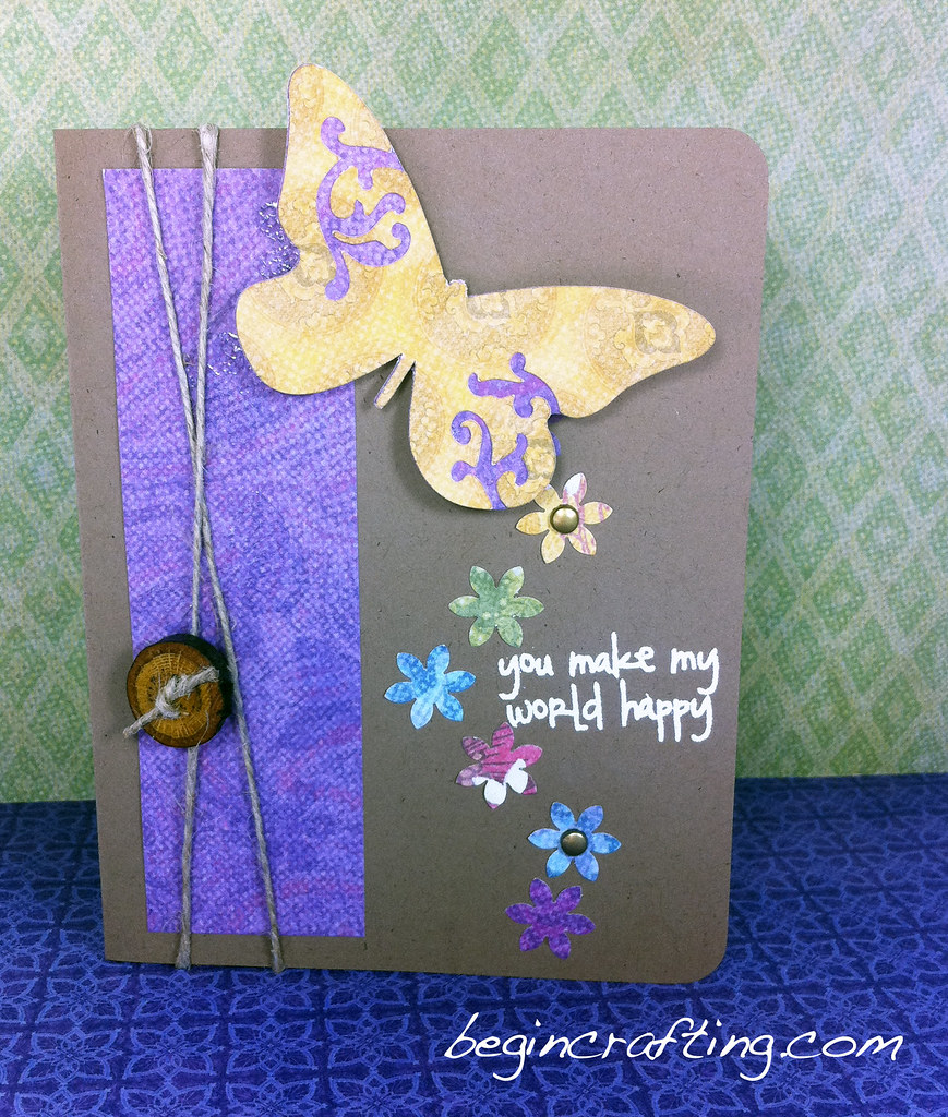 Handmade Flowers and Butterfly Card