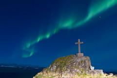 Auroras over the Cross (ReynirSk) Tags: canon iceland cross 7d northernlights auroraborealis vestfirir westfjords kross canonef2470mmf28l norurljs explored shl