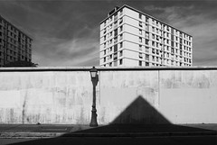 """Austère banlieue (Bernard Chevalier) Tags: city abstract geometric noir lumière rue mur géométrie ville façade immeuble tristesse trottoir vide urbain décor banlieue urbanisme abstrait classique graphisme anonymat """"flickraward"""""""