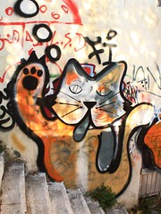 Street cat (sara-maria) Tags: streetart art wall stairs cat painting graffiti wand hellas athens treppe greece katze bild griechenland athina athen
