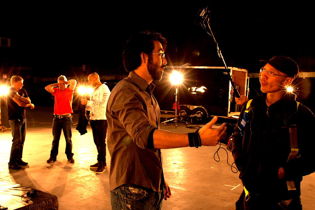 Cinematographer Stephen Chung talks on set with Director Randall Lloyd Okita - Behind the scenes on the shoot for No Contract 2 photo by Alison Herr