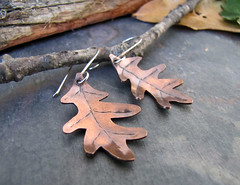 Mighty Oaks - Copper Leaf Earrings (sundown_bead_designs) Tags: autumn fall texture woodland one leaf handmade ooak rustic jewelry kind copper handcrafted oakleaf earrings sawed artisanjewelry mixedmetal