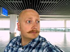 Uploading live from Sofia Airport (Brian Aslak) Tags: me self airport europe sofia bald terminal moustache bulgaria sof   sofiaairport