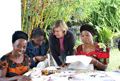 Manuela with Emma, Kav and Marianne at Kila Siku, DR Congo (Kila Siku) Tags: poverty africa children volcano support women war belgium linen embroidery goma violence congo humanitarian tailor drc theodore nyiragongo finelinen atelierabc libeco kilasiku