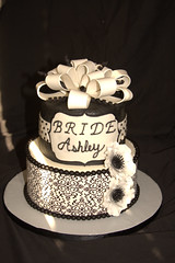 "Black and white bridal shower cake • <a style=""font-size:0.8em;"" href=""http://www.flickr.com/photos/60584691@N02/6023957350/"" target=""_blank"">View on Flickr</a>"