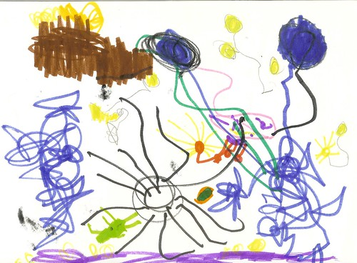 """""""Asher, Alex, and Noah Fighting a Black Monster"""" Asher's Art, 4.5 Years Old"""