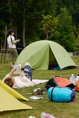 Camping at the Makkari camping ground, Makkari, Hokkaido, Japan