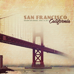 Vintage Greetings from the Golden Gate (pixelmama) Tags: sanfrancisco california texture postcard fake goldengatebridge squareformat vintagepostcard faux false hcs clichsaturday