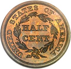 1847 Half Cent reverse