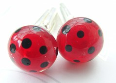 Dapper Polka for Gents Cufflinks (Glittering Prize - Trudi) Tags: uk red black men glass beads pin tie polka gift dots trudi lampwork cufflinks sra glitteringprize