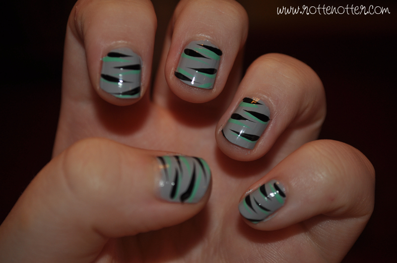 NOTD models own misty grey jade stone wah nails art double zebra stipes