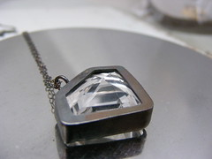 "Faceted Crystal Quartz ""Diamond"" Pendant (HouseThatCrowBuilt) Tags: handmade jewelry faceted bezel sterlingsilver crystalquartz diamondshape"