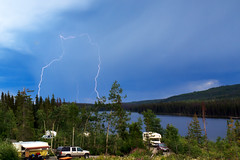 Lightning over Lac Le Jeune (Patrick Lundgren) Tags: lighting travel blue camping trees summer vacation lake canada storm green water clouds forest canon dark p