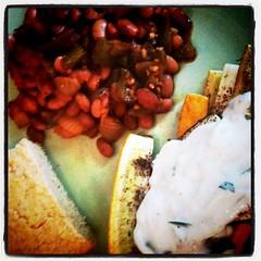 Zucchini, cornbread, pinto beans