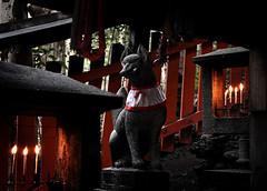 The Glow of Candles (Seeing Visions) Tags: orange statue japan stone temple fire kyoto origami candle magic bib cranes flame fox sacred offering 2009 slope yokai fushimiinaritaisho inarifox raymondfujioka