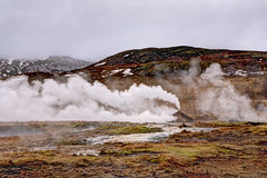 Steamy landscape, Iceland (**Anik Messier**) Tags: nature clouds river landscape iceland steam geothermal haukadalurvalley anikmessiercopyright