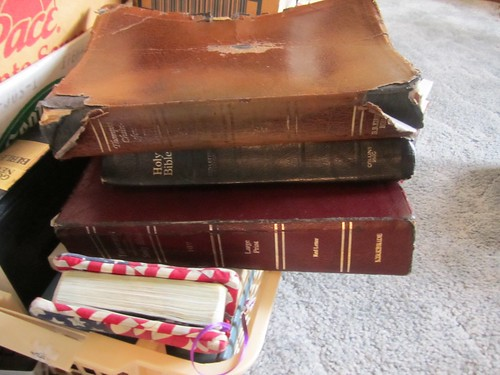 You can tell a lot about a person's faith by looking at their Bible. Here's a pile of them.