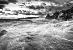 Season of the Storm (Darren White Photography) Tags: ocean sunset blackandwhite clouds canon northwest pacificocean beaches pacificnorthwest oregoncoast storms pacificcity capekiwanda naturalforces forcesofnature oregonbeaches dangerzone darrenwhite northwestlandscapes oregonstorms darrenwhitephotography 5dmkii