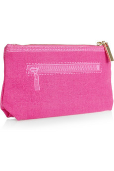 Tory Burch Trompe l'Oeil Tory Wool-Canvas Cosmetic Case