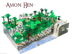 Amon Hen (Blake's Baericks) Tags: two tree jack waterfall ruins rocks king sam lego towers lord ring foliage lotr rings return gandalf aragorn fi merry blake pippin vignette frodo gimli sci orc fellowship boromir legolas baer bittner 2011 brickfair