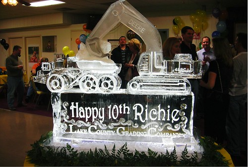 Deere construction Vehicles ice sculpture