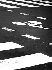 sans-titre (Nijule) Tags: road urban bw bicycle sign composition nb route z signalisation try rue essai vlo bitume urbain iphone abstrait bande graphique 2011 contrast flickrchallengegroup