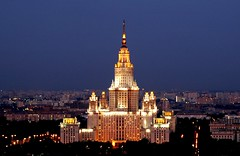 MSU (Serge Freeman) Tags: city building architecture night skyscraper twilight university cityscape russia moscow aerial clear