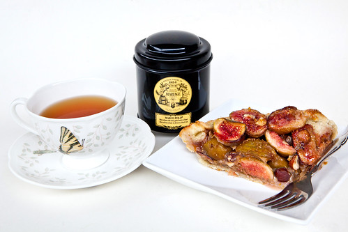 My fig hazelnut crostata with a cup of Mariage Frères Marco Polo tea