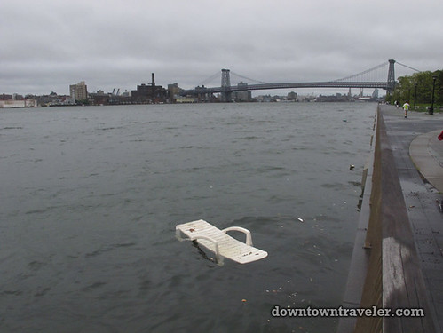 Aftermath of Hurricane Irene in NYC_The East River deck chair