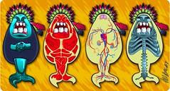 Freaks anatomy (sireno) (davidromeroj) Tags: muscles monster illustration skeleton design character pop system anatomy bones animation nervous surrealist mermaid vector skeletal multimedia infographic sirena sireno circulatory autopsia freack