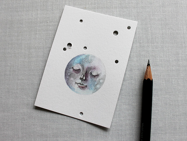 ACEO original moon pencil drawing