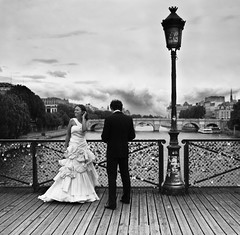 wedding on le pont des arts // paris (pamela ross) Tags: city bridge wedding sky urban paris france lamp clouds pen french 50mm groom bride key europe dress minolta lock olympus ep1 pontdesarts