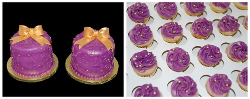 Purple and Gold Christmas in July Cakes and Mini Cucpakes