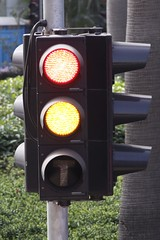 Get ready at a traffic light on the Hong Kong Tramways