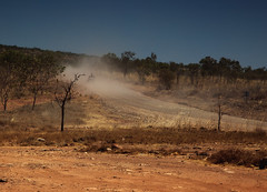 Dusty road (Stray Croc) Tags: sun nature weather landscape sand australia location noon roads westernaustralia countryroad clearsky reddust timeofday imagetype